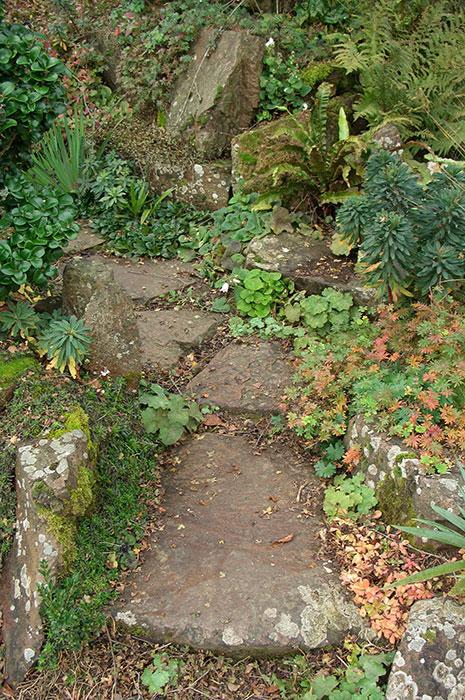 садовая дорожка из камней, дорожка в рокарии, камни в рокарии